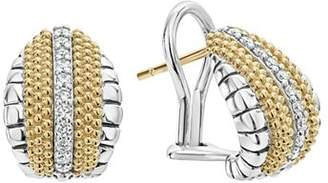 Lagos 18K Gold and Sterling Silver Diamond Lux Pear Huggie Earrings