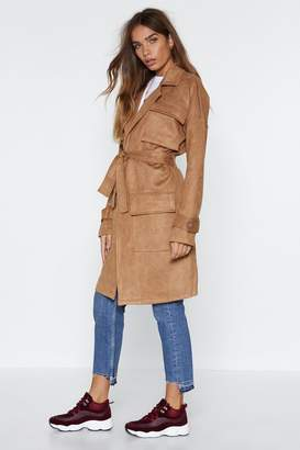Nasty Gal Heart Trenching Faux Suede Trench Coat