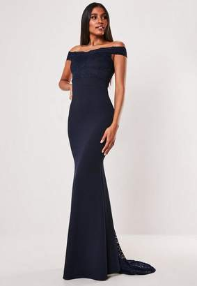 Missguided Bridesmaid Navy Bardot Lace Insert Fishtail Maxi Dress