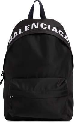 Balenciaga Logo Embroidered Nylon Backpack