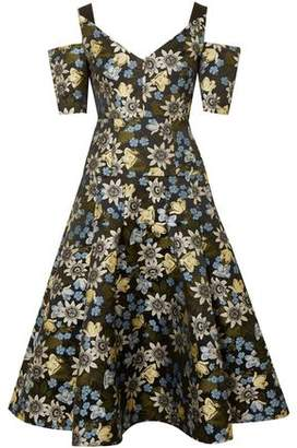 Erdem Yamal Cold-Shoulder Floral-Jacquard Dress