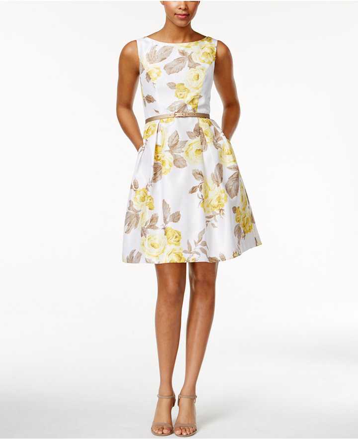 Jessica Howard Belted Floral-Print Fit & Flare Dress and Cardigan 3