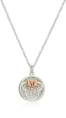 Disney Women's Two-Tone Plated Crystal Minnie Some Days Call for Extra Sparkle Pendant Necklace