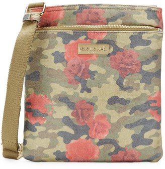 Peace Love World Rose & Camouflage Cotton Crossbody Bag