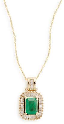 Effy 14K Yellow Gold Framed Emerald Pendant Necklace