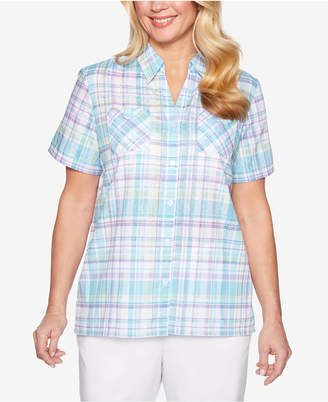 e5fb46a9 Alfred Dunner Catalina Island Plaid Short-Sleeve Shirt