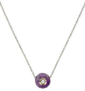 14K Diamond & Amethyst Ball Pendant Necklace