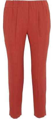 Brunello Cucinelli Pleated Crepe Slim-Leg Pants