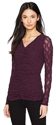 Only Hearts Women's Stretch Lace Ruched Front Tee