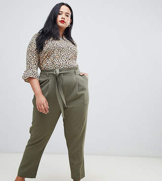 New Look Plus Curve paper bag pants in green