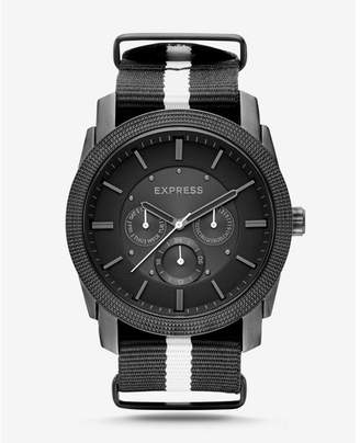 Express rivington stripe multi-function watch - black and white