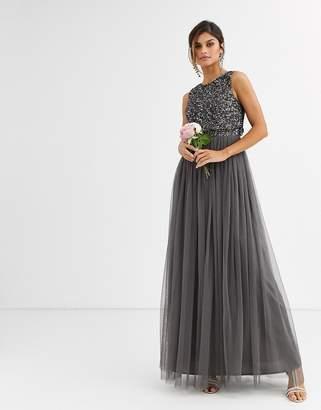 Maya Bridesmaid delicate sequin 2 in 1 maxi dress in dark grey