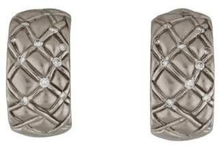 Platinum Diamond Quilted Hoop Earrings