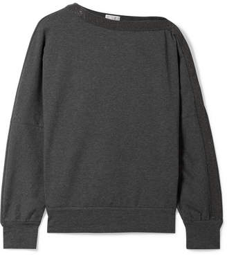 Brunello Cucinelli Embellished Cotton-blend Jersey Sweatshirt - Dark gray