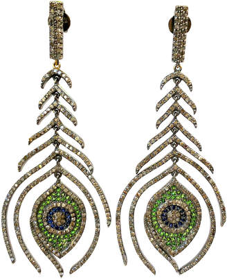Dripping In Gems Diamond Peacock Feather Earrings