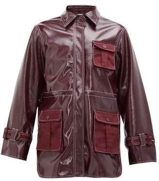 Ganni Patent Technical Jacket - Womens - Burgundy