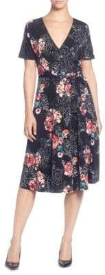 Catherine Malandrino Floral Short-Sleeve Wrap Dress
