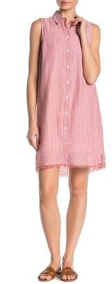 BeachLunchLounge Striped Linen Blend Button Down Shirtdress