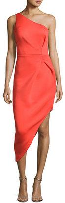 Jovani One-Shoulder Asymmetric Crepe Sheath Dress, Orange $495 thestylecure.com
