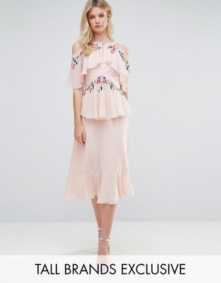 Frock and Frill Tall Frock And Frill Tall Floral Embroidered Cold Shoulder Tiered Midi Dress With Open Back Detail $151 thestylecure.com