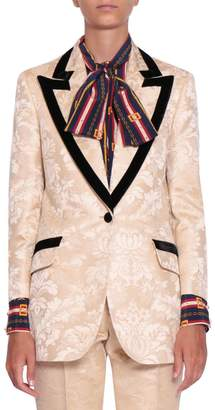 Gucci Velvet Trimmed Brocade Blazer