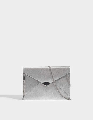MICHAEL Michael Kors Barbara Large Soft Envelope Clutch in Silver Metallic Calfskin