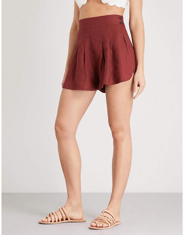Three Graces London Rhoda wide-leg high-rise linen shorts