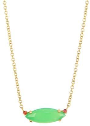 "Ippolita 18K Gold Prisma Single Medium Marquise Necklace in Chrysoprase 16-18\"""