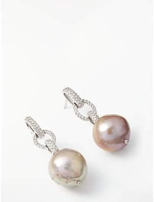 Lido Edison Pearl Link Drop Earrings, Silver/Pink