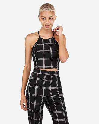 Express Plaid Cropped Halter Top