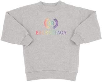 Balenciaga Rainbow Logo Cotton Sweatshirt