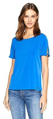 Calvin Klein Women's Short Sleeve TOP with Circle Hardware
