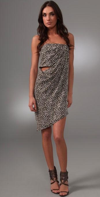Willow Print Strapless Sarong Dress