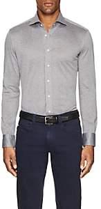 Cifonelli Men's Cotton Piqué Long-Sleeve Polo Shirt-Light Gray
