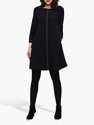 Phase Eight Jude Top Stitch Dress, Navy/Ivory