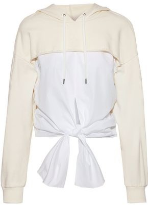 28a1af5691e316 3.1 Phillip Lim Tie-front Cotton-poplin And French-terry Hooded Sweatshirt
