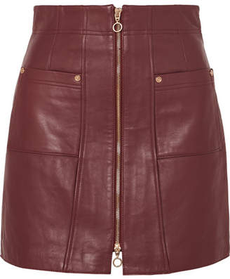 Alice McCall Make Me Yours Leather Mini Skirt - Burgundy