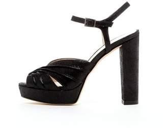 Pelle Moda Black Platform Sandal
