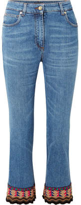 Etro Cropped Embroidered High-rise Flared Jeans - Blue