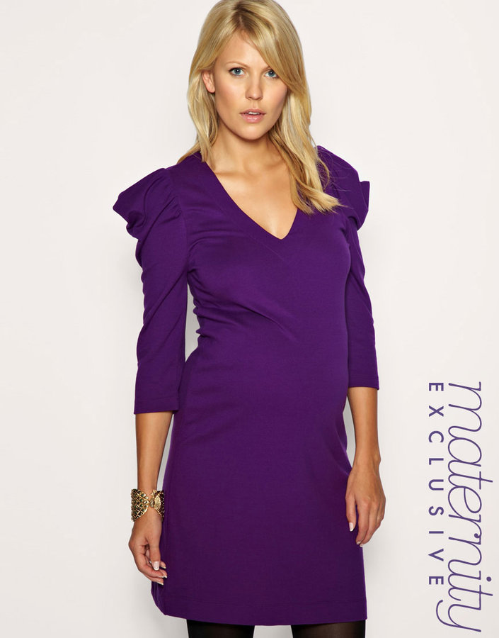 French Connection Maternity Ponte Big Shoulder Dress Exclusive to ASOS