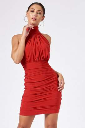 Club L **Red Backless Halter Neck Dress