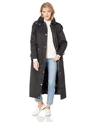 Calvin Klein Women's A-Lined Maxi Length Cotton rain Coat with Hood
