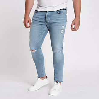 376415f7d7f0f6 River Island Big and Tall blue Danny skinny ripped jeans
