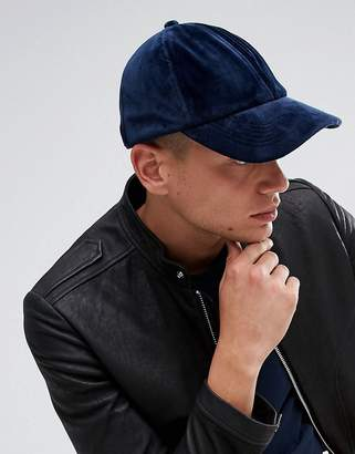 Asos Baseball Cap In Navy Velour