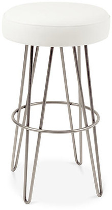 Le-Coterie Hairpin Swivel Barstool - Pewter/White Leather