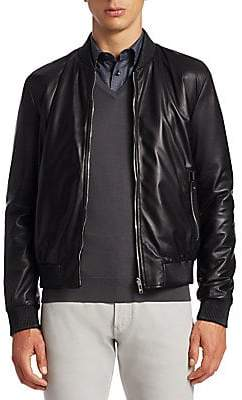 Giorgio Armani Men's Reversible Leather Bomber Jacket