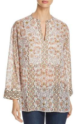 Tory Burch Adrian Printed Split-Neck Tunic