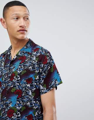 Brave Soul Short Sleeve Tattoo Print Shirt With Revere Collar