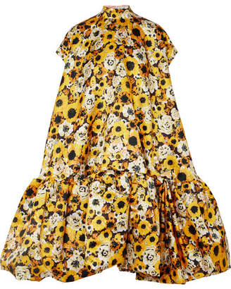 Richard Quinn - Oversized Floral-print Satin Dress - Pastel yellow