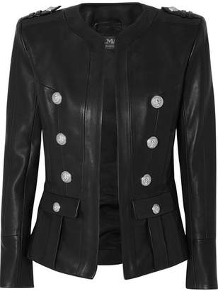 Balmain Button-embellished Leather Blazer - Black